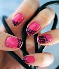 hot pink nails with black lace, fun!