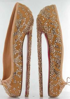 Christian Louboutin ballet inspired shoes with a staggering 8 inch heel and trademark red sole.