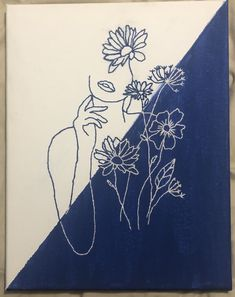 Simple Canvas Paintings, Small Canvas Art, Diy Canvas Art, Outline Art, Art Drawings Sketches, Embroidery Art, Art Inspo, Painting & Drawing, Art Projects