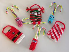 Holly Jolly Christmas Crochet Gift Card/Candy Holders - Reindeer, Santa's Vest, Candy Stripes, Owl