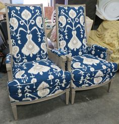 Custom Chalk Paint Collection - Blue Ikat Chairs (Pair) - Can be Shipped #EclecticTransitional