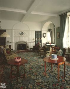 The Victorian Drawing Room at Standen with Morris carpet and textiles.