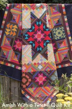 Awesome Quilt!! Save a ton of time by using a kit. You don't have to track down all the materials! Amish With a Twist II Quilt Kitby Nancy Rink featuring Marcus Fabrics Centennial Solids - Craftsy - #quilting #sewing #Amish #affiliate