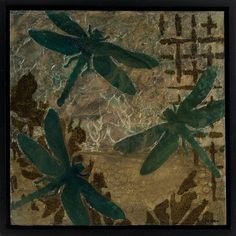 """""""Dragonflies Suspended"""" by Sue Clover. multiple layers, stenciled images, die cut acrylic skins on Ampersand Encausticbord in floater frame. Dragonflies, Stencils, Mixed Media, Layers, Paintings, Frame, Art, Dragon Flies, Layering"""