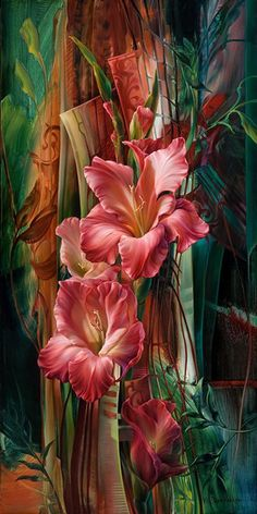 Vie Dunn Harr, Musetouch. floral art, gladiola flowers painting