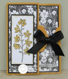 Stamps: SU Peaceful Petals, Verve Wonderfully Made (on inside) Paper: SU Whisper White, Basic Black, & More Mustard CS; MME Meadow Lark DSP...
