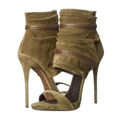 Slouchy Zipper Decoration Suede Stiletto Heel Sandals