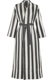 Laurence striped cotton and silk-blend wrap dress