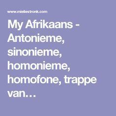 My Afrikaans - Antonieme, sinonieme, homonieme, homofone, trappe van… Career Quotes, Success Quotes, Wisdom Quotes, Life Quotes, Afrikaans Language, Self Improvement Quotes, School Worksheets, Dream Quotes, Daily Inspiration Quotes