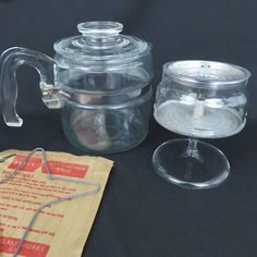Pyrex 7754 4 Cup Flameware Coffee Pot with Glass Percolator