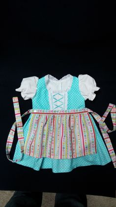 Your place to buy and sell all things handmade Sewing Kids Clothes, Sewing For Kids, Aqua Fabric, Long Ties, Eyelet Lace, Put On, Polka Dots, One Piece, Babies