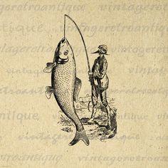 Printable Graphic Fisherman Catching Big Fish Image Digital Download Vintage Clip Art for Transfers Making Prints etc HQ 300dpi No.4228