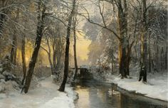 """Anders Andersen-Lundby (Danish, 1841-1923), """"Winter woodland at dawn"""" (1888) Oil on canvas, 60 x 93 cm"""