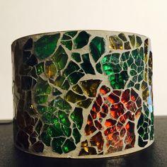 Mosaic Bracelet Unique Mosaic bracelet/bangle green, yellow and orange. Jewelry Bracelets