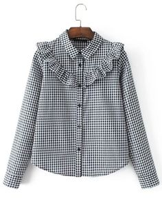 Shop Ruffle Detail Gingham Blouse online. SheIn offers Ruffle Detail Gingham Blouse & more to fit your fashionable needs.