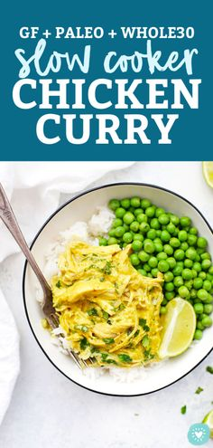 Slow Cooker Chicken Curry - This yellow chicken curry is such a tasty crock pot dinner! You'll LOVE the sauce! // Slow Cooker Curry // Crock Pot Chicken Curry Recipe // Paleo Slow Cooker Recipe // Gluten Free Slow Cooker Recipe // Healthy Slow Cooker Recipe // Whole30 Slow Cooker Recipe // #slowcooker #chicken #curry #chickencurry #crockpot #paleo #glutenfree #whole30 Healthy Slow Cooker, Slow Cooker Recipes, Crockpot Recipes, Chicken Recipes, Paleo Recipes Easy, Whole 30 Recipes, Paleo Menu Plan, Slow Cooker Chicken Curry, Sugar Free Bacon