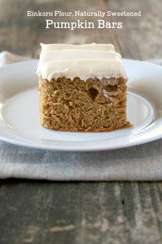 Naturally Sweetened, Einkorn Pumpkin Bars | momadvice.com
