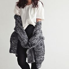 OUTFIT: white shirt, high-waisted black pants, chunky grey cardigan