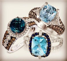 Left: Deep Sea Blue Topaz™ Top Right: Sea Blue Aquamarine® Bottom: Ocean Blue Topaz™