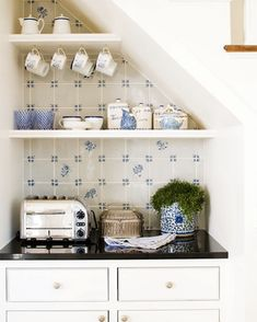 35 Open Kitchen Shelving Inspirations | Shelterness A sweet little nook to make your morning toast.