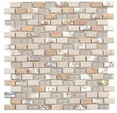 Bring home the beauty of nature and get lost in this breathtaking mosaic tile!  With light natural stone, soft beautiful glass, and amazing natural shell inlays, this offset set subway style is sure to please! MAM120BO