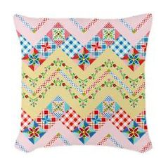Country Days Quilt Woven Throw Pillow> EVERYTHING Country Days #Quilt> #PatriciaSheaDesigns #CafePress