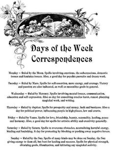 Free Book of Shadows pages to save or print! Days of Week Correspondences! Which Witch, Wicca Witchcraft, Green Witchcraft, Wiccan Witch, Vegvisir, Magic Spells, Wiccan Magic, Beauty Spells, Moon Spells