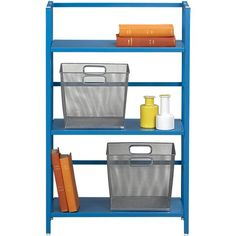 Pop Up Aqua Folding Three-Shelf Bookcase in Bookcases, Cabinets | Crate and Barrel
