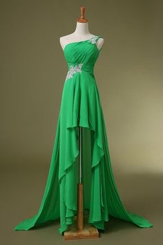 Charming Prom Dress,One Shoulder Prom Dress,Chiffon Prom Dress