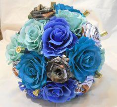 Camo Wedding Bouquet Bridal Bouquet Mint by BouquetsByKeepsakes