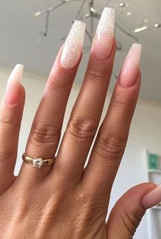 Nude blush, glitter nails