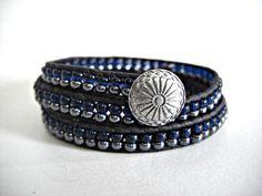 Silver Concho 2 Rows Gunmetal & Montana Blue Glass door JaspersDream