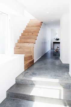 Polished concrete floors suitable for wet areas, beautiful simple design. Concrete Kitchen Floor, Polished Concrete Flooring, Concrete Stairs, Concrete Houses, Polished Concrete Kitchen, Concrete Floors In House, Painted Concrete Floors, Timber Stair, Building A House