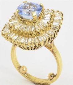 18K Yellow Gold 2 70 Ct Sapphire 2 00 cttw Diamond Ballerina Cluster Ring | eBay 9.00 Grams - 2.00 cttw - Estate Jewelry Sale