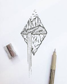 "218 Likes, 11 Comments - R o i  M a r t i n e z (@xoseroi) on Instagram: ""Waterfall dream  #illustration #tiny #waterfall #nature"""