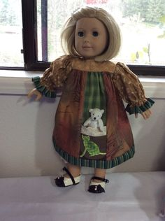 """Green kitty cat, 16-18"""" doll clothes, Waldorf, American Girl, pocket, 2 pc, ooak by judysdollboutique on Etsy"""