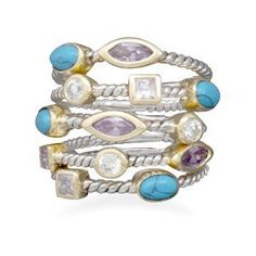 I like this.. Kind of Funky :-)    Plated 5 Ring Set with CZ and Reconstituted Turquoise