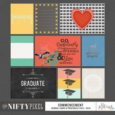 COMMENCEMENT | Journal Cards & Printables These fun & bold pocket fillers are perfect for adding an extra splash of colourful love. Because the designs are quite modern they are a great way to add some graphic flair to your digital scrapbook pages or pocket style projects. DOWNLOAD INCLUDES: 9X Unique Designs (3X4 + 4X6 formats) Printable Sheets. All products are saved at 300ppi for optimum printing quality.