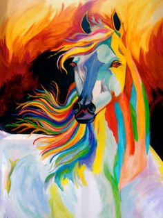 Rainbow Horse Painting