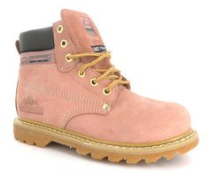 girlie work boots? Wonder if they are water proof? lol Pink...I don't think so!