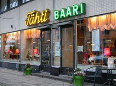 City lights. Tähti Baari, Star Bar, Turku Finland.