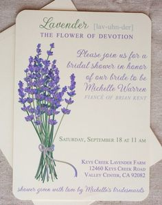 Fresh Picked Lavender Wedding Invitations (print at home) on Etsy, $45.00