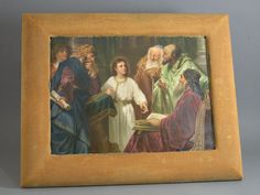 "Jesus in the Temple plaque  7 1/2"" high x 9 7/8"" wide  attrib. Wagner  after Johann Michael Ferdinald Heinrich Hofmann  KPM"