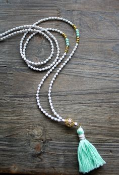 Bohemian Tassel Necklace Long Layering Necklace White by Montrigue