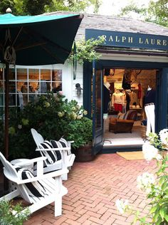 Ralph Lauren, Southampton – The House that A-M Built Ralph Lauren Store, South Hampton, Shop Fronts, Cafe Restaurant, Adirondack Chairs, Retail Design, Curb Appeal, Outdoor Spaces, The Hamptons