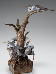 """""""Confluence of Blue"""" Bronze, 50"""" x 28"""" x 32"""" by artist Ken Newman. See his portfolio by visiting www.ArtsyShark.com"""