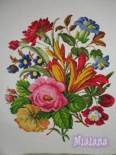 Patterns 3 - Victorian Cross Stitch and Berlin Wool Work Patterns Folk Embroidery, Cross Stitch Embroidery, Embroidery Patterns, Cross Stitches, Vintage Embroidery, Folk Art Flowers, Flower Art, Victorian Cross Stitch, Polish Folk Art