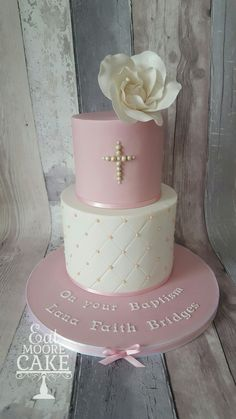 Girls Christening cake pink and white pearls