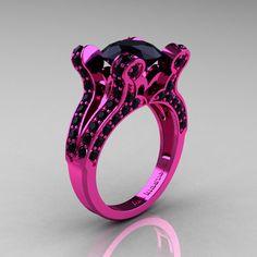 French Vintage 14K Pink Gold 3.0 CT Black Diamond Pisces Wedding Ring Engagement Ring Y228-14KPGBD. $2,249.00, via Etsy.