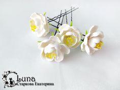 Шпильки «весенний цветок» из полимерной глины